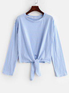 Self Tie Stripe Long Sleeves T Shirt - Day Sky Blue M