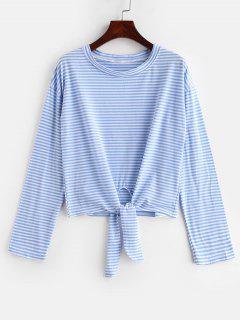 T-shirt à Manches Longues Et à Rayures - Bleu De Ciel  S