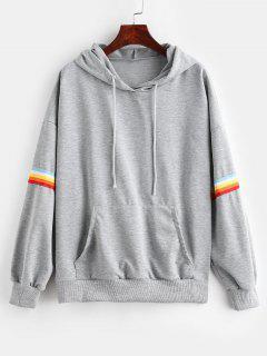 Rainbow Stripe Kangaroo Pocket Hoodie - Gray M