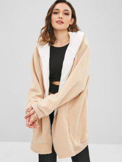 Hooded Loose Fit Long Fuzzy Coat - Apricot S