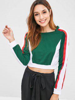 ZAFUL Side Striped Color Block Sweatshirt - Dark Green M