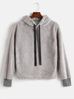 Drawstring Fluffy Faux Shearling Hoodie - Gray Cloud M