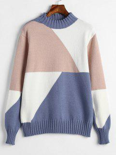 Geometric Pattern Pullover Sweater - Multi
