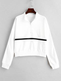 Half-zip Stripe Sweatshirt - White S