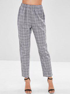 Elastic Waist Straight Plaid Pants - Black S