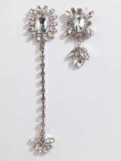 Rhinestone Asymmetric Floral Earrings - White