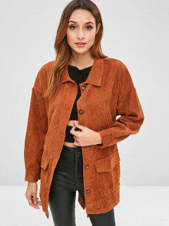 Corduroy Tunic Shirt Jacket With Belt - Brown S