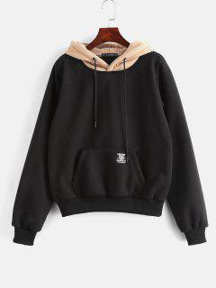 ZAFUL Pouch Pocket Fleece Pullover Hoodie - Black M