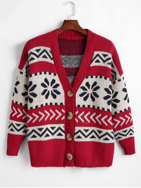 Vintage Jacquard Navidad Cardigan - Rojo Talla única Mobile