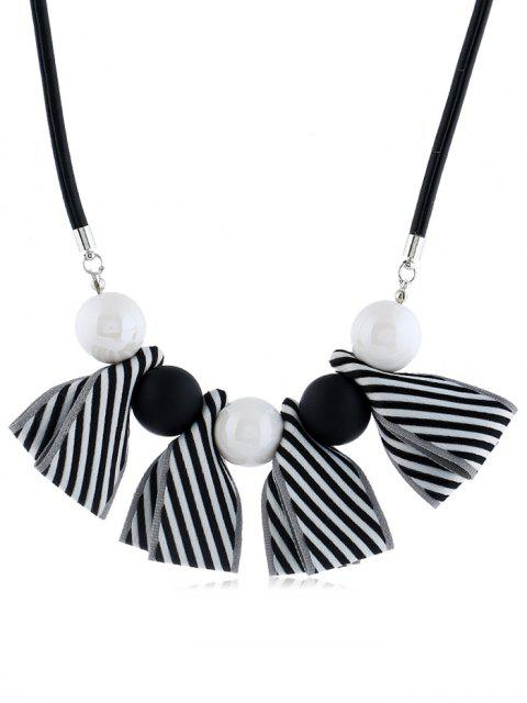 outfit Bowknot Ball Decor Pendant Necklace - BLACK  Mobile