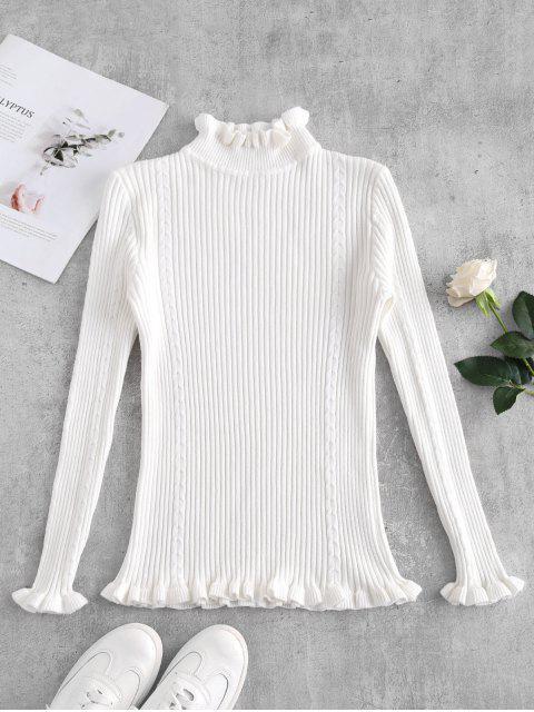 Suéter ribeteado delgado con ribete - Blanco Única Talla Mobile