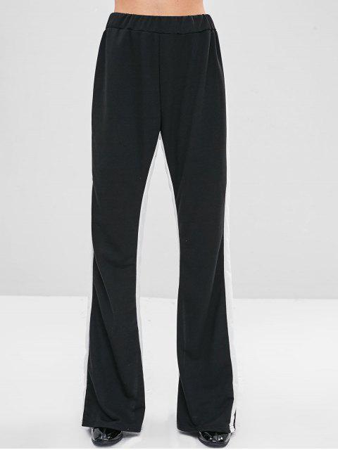 Cintura elástica en contraste dos pantalones tono - Negro S Mobile