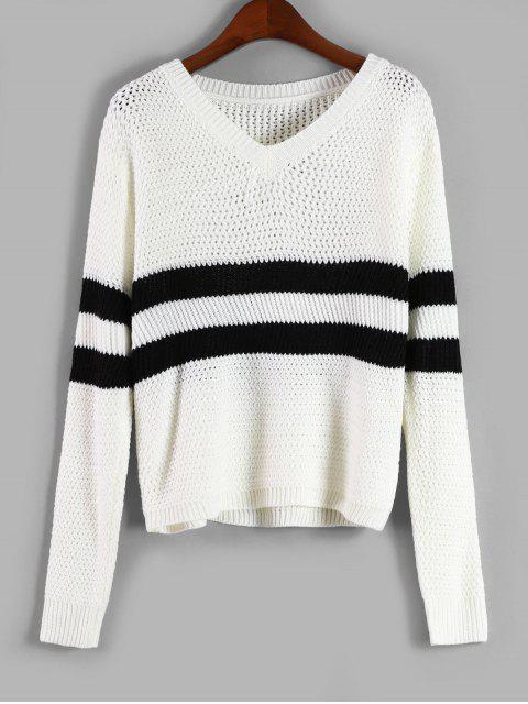Suéter A Rayas Con Cuello En V - Blanco Talla única Mobile