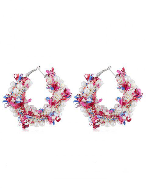 affordable Statement Flower Decoration Artificial Pearl Earrings - MULTI  Mobile