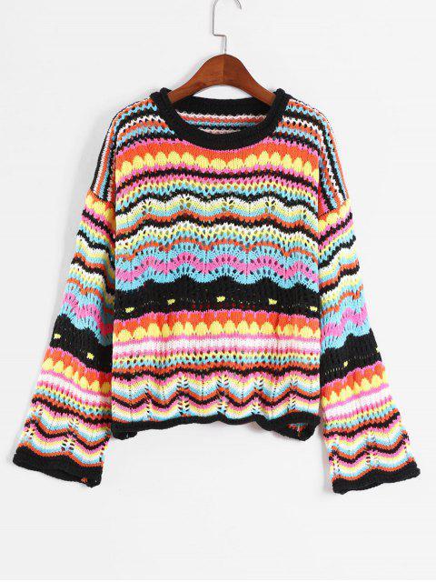 Drop Shoulder bunte Grafik Sweater - Multi-B Eine Größe Mobile