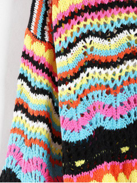 affordable Drop Shoulder Colorful Graphic Sweater - MULTI-B ONE SIZE Mobile