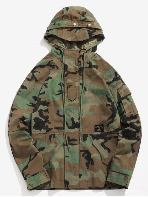 Bolsillos patchwork chaqueta de camuflaje con capucha - ACU Camuflaje M Mobile