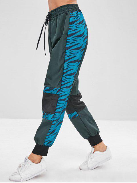 Pantalones jogger con cordón estampado - Verde Oscuro M Mobile