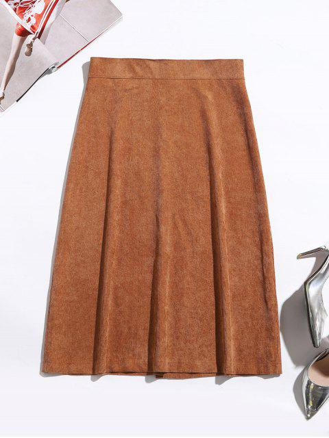 latest Button Up Corduroy Mid Calf Skirt - CARAMEL L Mobile