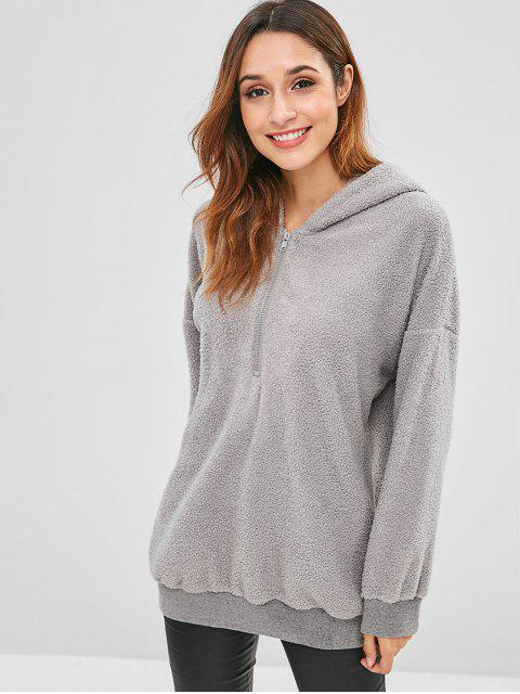 ZAFUL Half Zip Plain Fluffy Hoodie - Gris XL Mobile