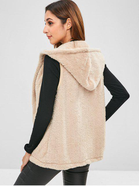 sale Hooded Faux Fur Gilet - CAMEL BROWN L Mobile