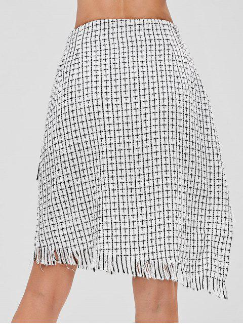 outfits ZAFUL Checked Frayed Asymmetric Skirt - WHITE S Mobile
