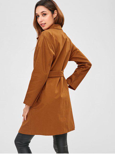 women Pockets Button Up Belted Coat - TIGER ORANGE M Mobile
