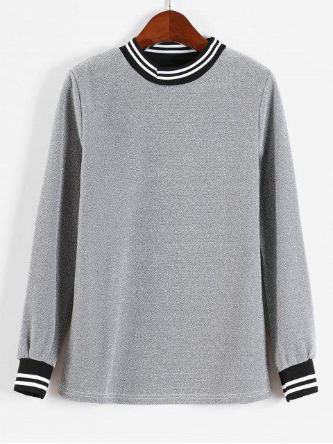 Glänzendes Streifen-Sweatshirt - Silber L Mobile