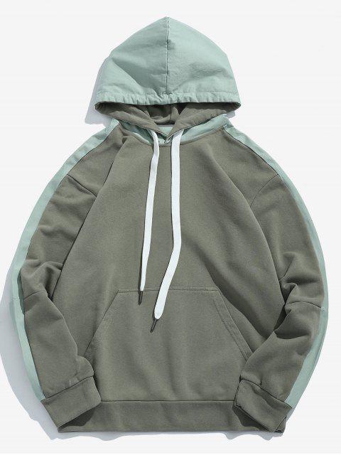 Sudadera con capucha del remiendo de dos tonos - Verde Camuflaje L Mobile
