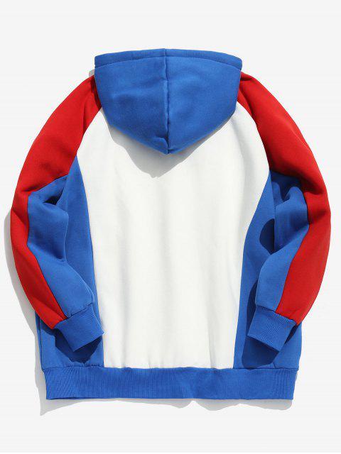 shops Color Block Letter Fleece Hoodie - RED M Mobile