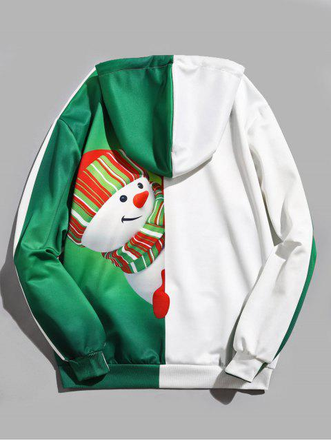 fashion Snowman Pattern Contract Color Pullover Hoodie - DEEP GREEN L Mobile