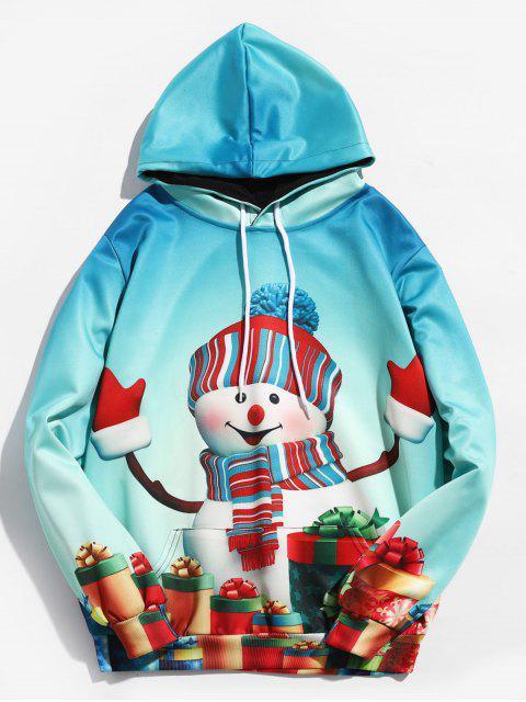Sudadera con capucha y estampado de muñeco de nieve de Navidad 3D - Verde de Mar Ligero L Mobile
