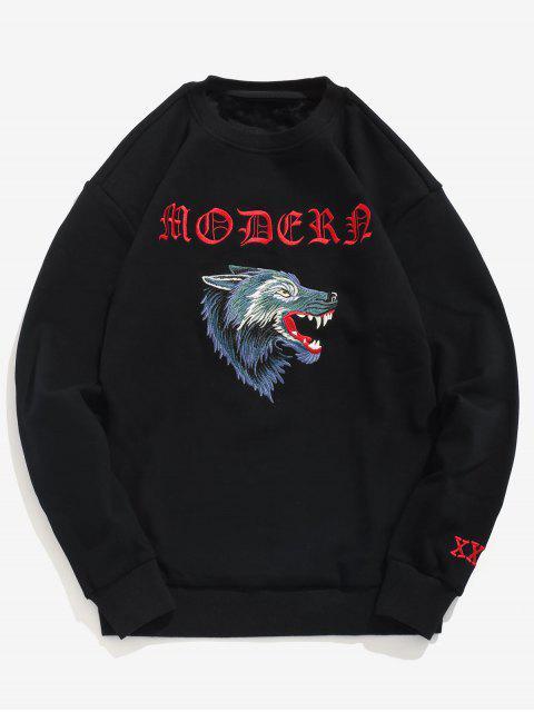 Wolf Head Besticktes Fleece-Sweatshirt - Schwarz M Mobile