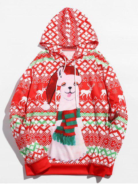 Sudadera con capucha estampada de alpaca navideña - Multicolor M Mobile