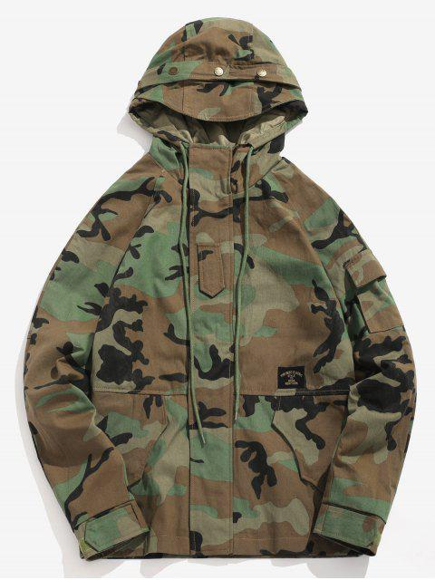 Bolsillos patchwork chaqueta de camuflaje con capucha - ACU Camuflaje S Mobile
