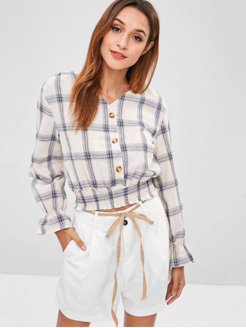 Button-Up-Bluse - Warmweiß S Mobile