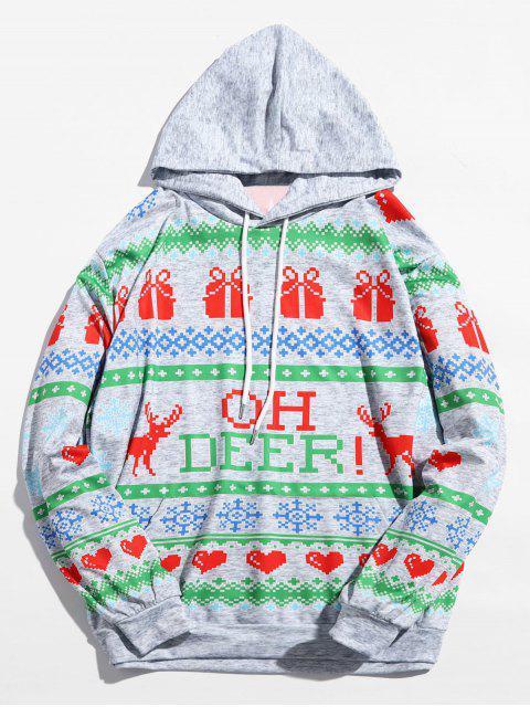 Sudadera con capucha Drwastring con estampado de corazones de Navidad - Multicolor M Mobile