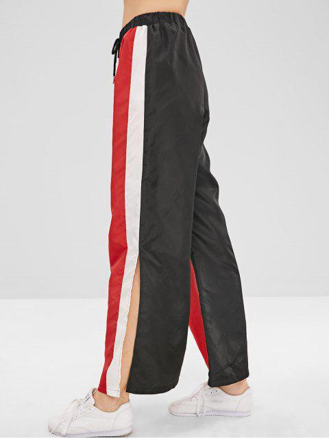 hot ZAFUL Wide Leg Color Block Slit Pants - RED XL Mobile
