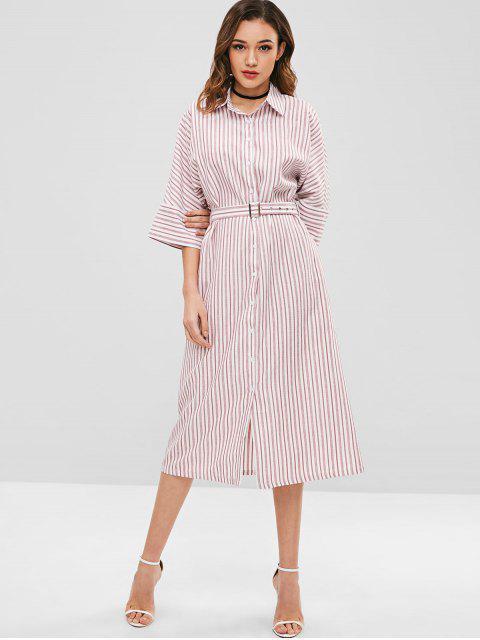 ZAFUL - Gestreiftes Midi-Hemdkleid mit Gürtel - Rosa L Mobile