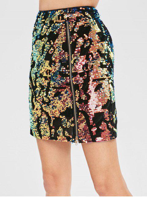unique ZAFUL Sequined Velvet Zip Skirt - MULTI XL Mobile