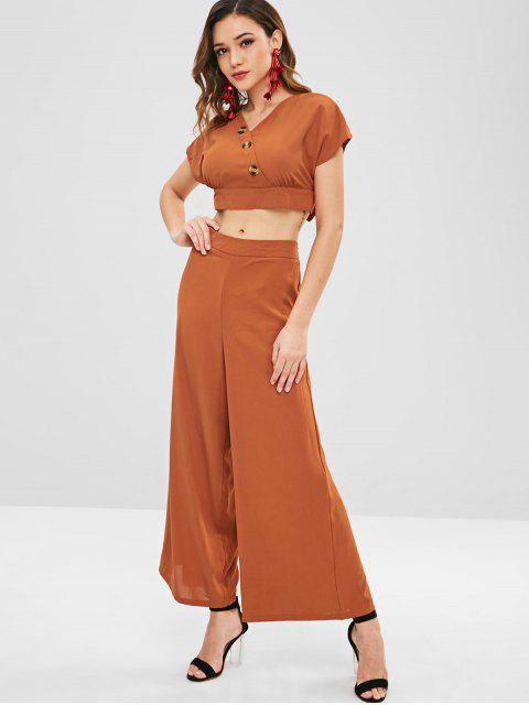buy ZAFUL Buttons Top and Wide Leg Pants Set - LIGHT BROWN S Mobile