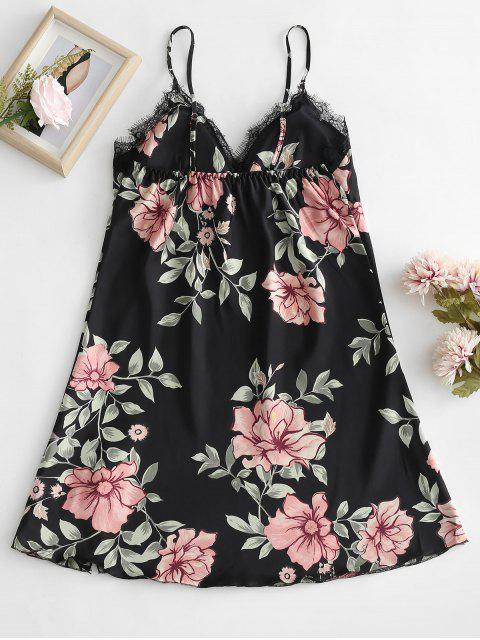 fashion Padded Flower Print Cami Night Dress - BLACK L Mobile