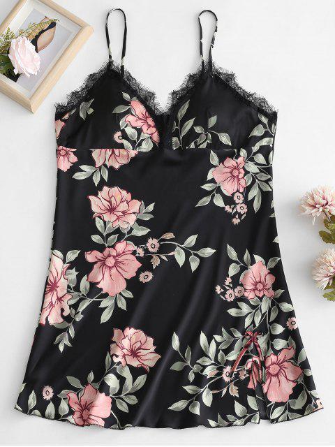 Gefütterte Blumendruck Cami Nacht Kleid - Schwarz XL Mobile