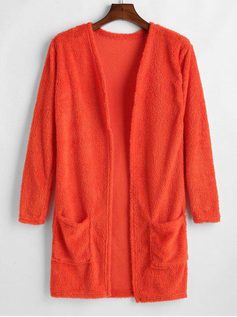 Taschen öffnen vorne flauschigen Mantel - Papaya Orange S Mobile