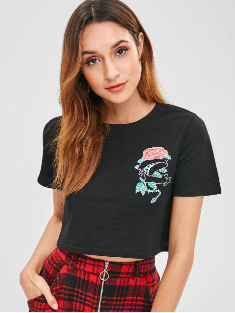 Bedrucktes Jersey-T-Shirt mit Rosenprint - Schwarz XL Mobile