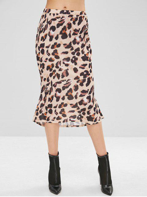 Hohe Taille Leopard High Low Rock - Vanille M Mobile