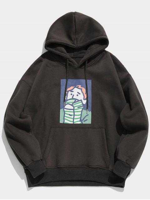 Cartoon Printed Känguru Tasche Pullover Hoodie - Kohle Grau 2XL Mobile