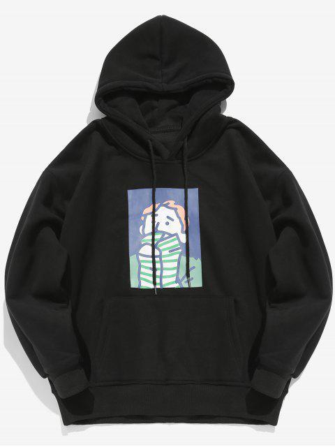 Cartoon Printed Känguru Tasche Pullover Hoodie - Schwarz XL Mobile