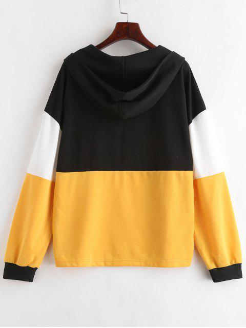 ladies ZAFUL Color Block Pullover Hoodie - BRIGHT YELLOW L Mobile