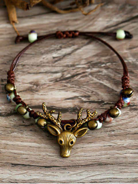 latest Deer Head with Bell Pattern Beaded Bracelet - MULTI  Mobile
